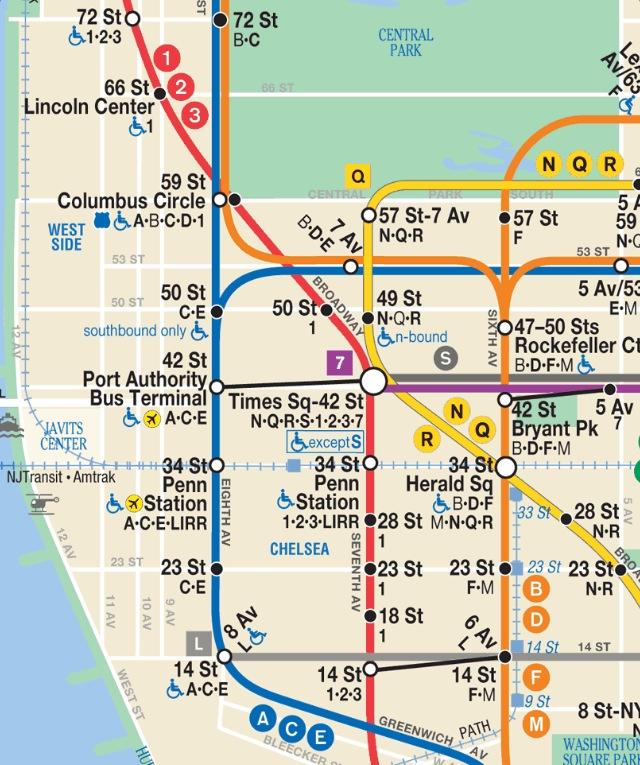 Subway Map 1 Train Route.New York City Wanderluster